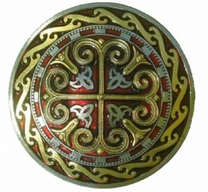 Celtic Round Cross Red, Gold and Silver Plated. Code KG2